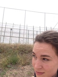 Renee Middendorp by the high fence around the Spanish enclave of Melilla in Morocco.